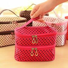 Organizer Makeup Tool Toiletry Case Double Layer Small Dots Cosmetic Bag