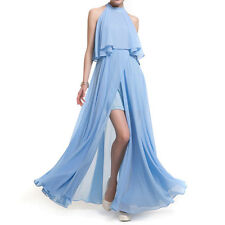 Plue Size Sexy Sleeveless O Neck Chiffon Split Party Gown Evening Long Dress