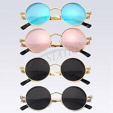 Women's Retro Round Frame Mirrored Lens Sunglasses Eye Glasses Eyewear Unisex