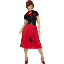 50s Poodle Rock n Roll Hop Grease Womens Ladies Fancy Dress Costume Outfit 30814
