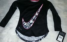 NIKE Dri Fit Youth Girls Long Sleeve Tops New NWT Swoosh Black Pink Size 4 or 6X