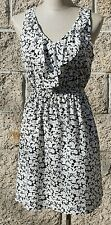 Summer dress,white/black,floral/fruit,polyester,size S,M,L,made in USA
