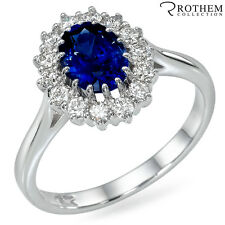 2.29 ct White Gold Princess Lady D Oval Blue Sapphire Engagement Ring 48746053