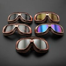 Vintage Aviator Pilot Motorcycle Goggles Cruiser Scooter Bike Eyewear Glasses
