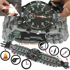 Outdoor Survival Watch Bracelet with Compass Flint Fire Starter Paracord 2X HOOK