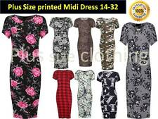 Womens  Print Round Neck Floral Midi Short Sleeve Summer  Dress Plus Size 16-32