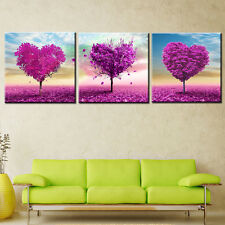 3PC Oil Painting Canvas Landscape Pink Flower Home Decor for Living Room Wall