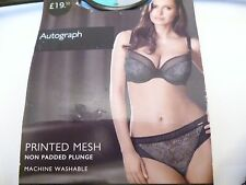M&S Autograph Printed Mesh Non Padded Plunge Bra Blue Mix 34F 36DD BNWOT