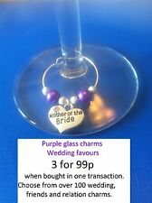 PURPLE WEDDING favours glass markers, choice of Wedding Family & Hen Party