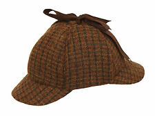 100% Wool Country Tweed Sherlock Holmes Deerstalker Hunting Drop Ears Hat