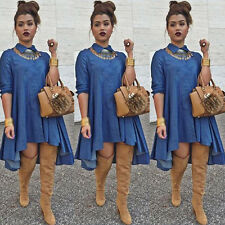 Womens Stylish Slim Fit Denim Blue Jean Dress Irregular Long Sleeve Shirt Dress