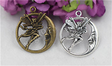 5/20/100pcs Antique Silver Beautiful Moon Dancer Jewelry Charms Pendant 30x32mm