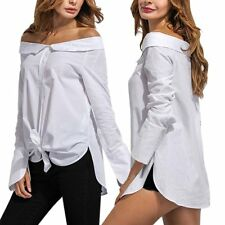 Women's Sexy Korean Off Shoulder T Shirt Casual Loose Tops Blouse Solid Tank Top
