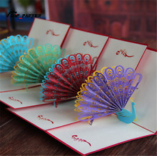 3D Paper Carving Pop Up Greeting Card Peacock Birthday Card Gift With Envelope