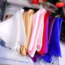Hot 35x35cm Men's Silk Pocket Square Handkerchief Solid Color For Wedding Party