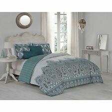 Transitional Reversible Blue Damask Design 5-PC Comforter Set King Queen NEW