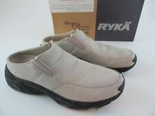 Ryka Cascade Nubuck Leather Cream Tan Slip On Clogs Mules Womens 7 Walking Shoes