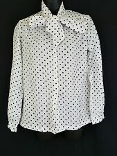 Vintage White Black Red Polka Dot Pussy Bow Tie Polyester Secretary Blouse 10 14