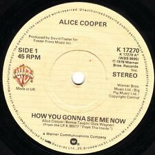 """Alice Cooper-How You Gonna See Me Now 7"""" 45-Warner Bros. Records, K 17270, 1978,"""