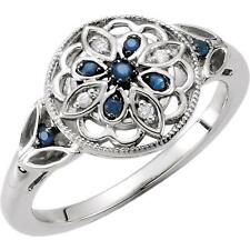 Blue Sapphire and 0.03 CTW Diamond Flower Ring Sterling Silver