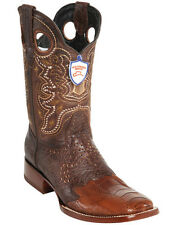 Men's Wild West Genuine Ostrich Leg Wide Square Toe Western Boots With Saddle