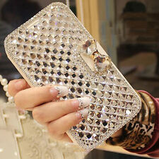 White Bling Bowknot Crystal Diamond Wallet Flip Case For Samsung huawei Sony