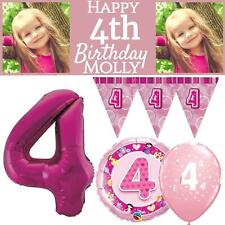 Age 4 Pink Happy Birthday Girls Party Decorations 4th Banner Bunting Balloons