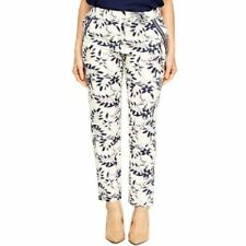Ladies Floral Linen Mix Trousers Off White Navy Summer Smart