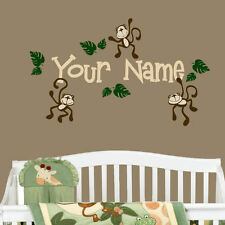 Monkeys with Personalized Name Vinyl Wall Decal Nursery Room