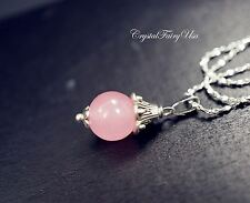 Pink Chalcedony Necklace Sterling Silver Tiny Chalcedony Necklace Simple Single
