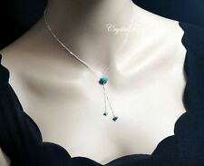 Turquoise Necklace - Sterling Silver Turquoise Lariat Necklace - Stone Y Chain N