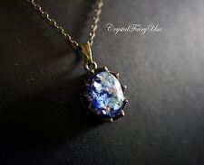 Opal Necklace - Blue Fire Opal Necklace - Retro Opal Pendant - Bronze Opal Jewel