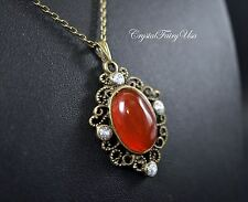 Red Carnelian Necklace - Natural Carnelian Pendant - Minimalist Bronze Red Agate