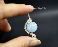Wire Wrapped Aquamarine Pendant - Sterling Silver Aquamarine Necklace - AAA 14MM