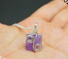 Genuine Cubic Amethyst Necklace, Sterling Silver Wrapped Amethyst Pendant , Amet