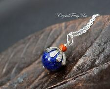 Lapis Lazuli Necklace in Sterling Silver , Single Lapis Lazuli Simple Blue Stone