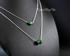 Layered Necklace - Emerald Jade Necklace - Sterling Silver Green Jade Necklace -