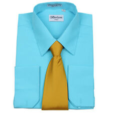 Men's Berlioni Business French Cuff Tie Set Aqua Dress Shirt And Gold Tie
