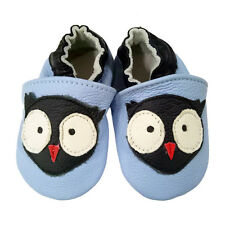 Owl light blue Soft Sole Leather Baby Shoes Toddler Indoor Non-Slip Shoes 0-24M