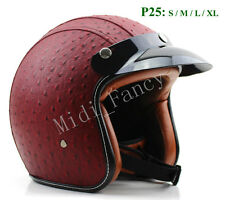 Motorcycle Leather Open Face Hemlet Scooter Chopper Jet Open Face Red Helmet