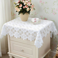 European Floral Square White Tablecloth Party Doily Table Cover Cloth Sofa Towel