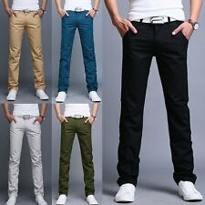 5 Colors Mens Business Slim Straight Leg Trousers Casual Pencil Pocket Pants