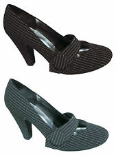WOMENS HIGH HEEL MARY JANE PINSTRIPE OFFICE COURT SHOES PUMPS LADIES UK SIZE 3-8
