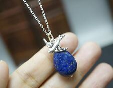 Silver Swallow Bird September Birthstone Teardrop Lapis Lazuli Necklace