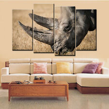 4PC No Frame  Animal Rhinoceros Painting Canvas Wall Art Picture for Living Room