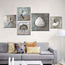 3PC No Frame Grey Vintage Canvas Art Sea Shell A4 Prints Gifts for Living Room