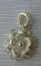 Sterling Silver Filigree Flower Pendant Handmade From Malta