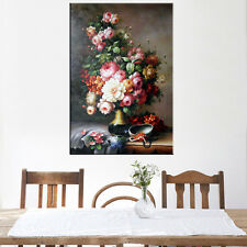 1PC Dropshipping Oil Canvas Painting Frameless Colorful Flower  for Living Room