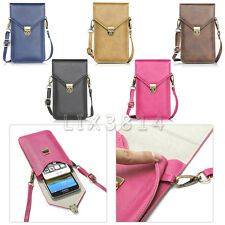 "6.3"" Double Pouch Handbag Leather Cellphone Pocket Purse Shoulder Bag Cover Case"