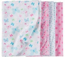 GERBER BABY GIRL'S 4-Pack Flannel Receiving Blankets - BUTTERFLIES - Pink - NWT